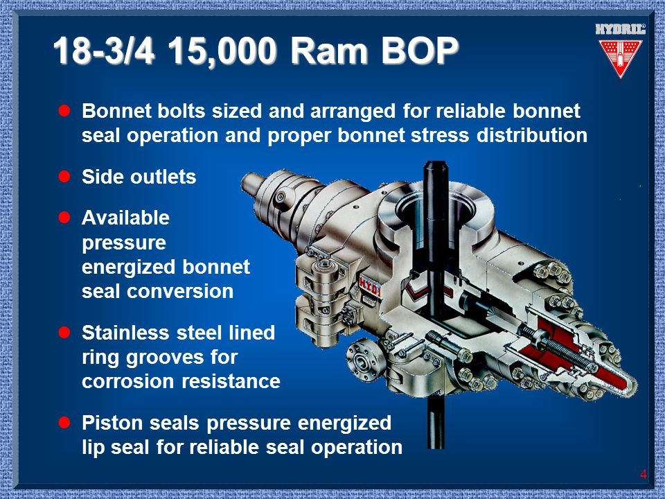 18-3/4 15,000 Ram BOP Bonnet bolts sized and arranged for reliable bonnet seal operation and proper bonnet stress distribution.