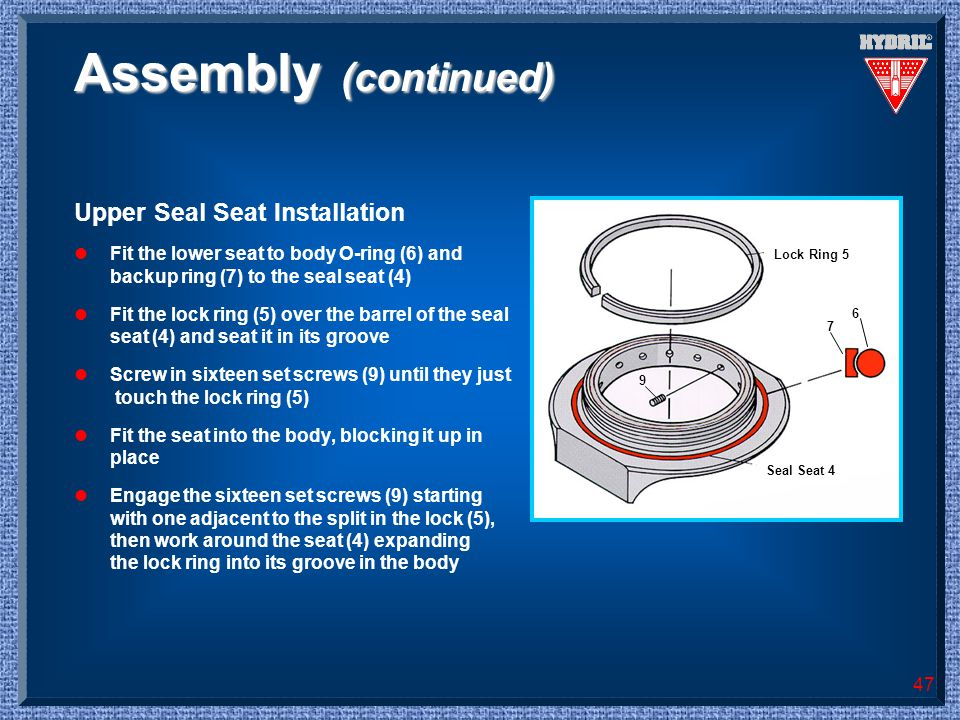 Assembly (continued) Upper Seal Seat Installation