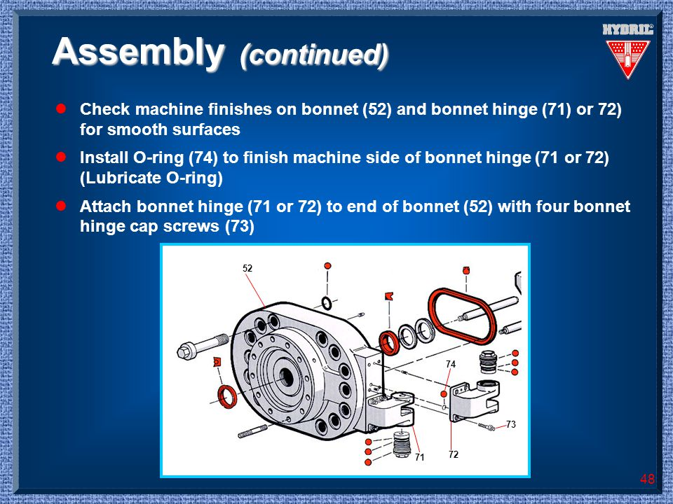Assembly (continued) Check machine finishes on bonnet (52) and bonnet hinge (71) or 72) for smooth surfaces.