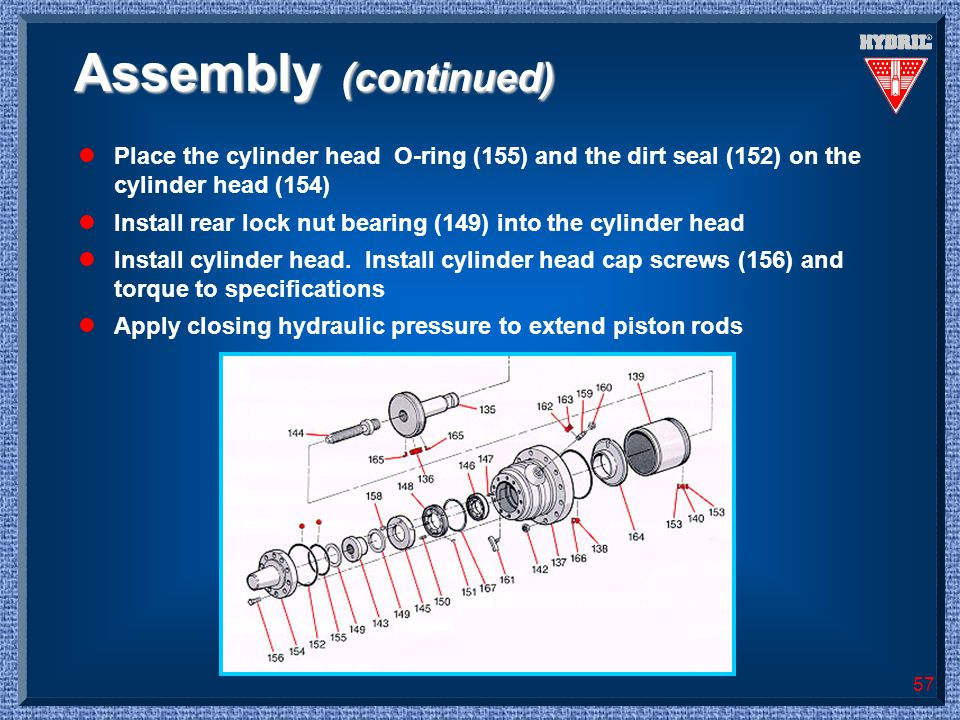 Assembly (continued) Place the cylinder head O-ring (155) and the dirt seal (152) on the cylinder head (154)