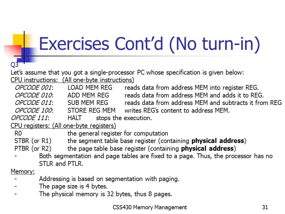 Exercises Cont'd (No turn-in)