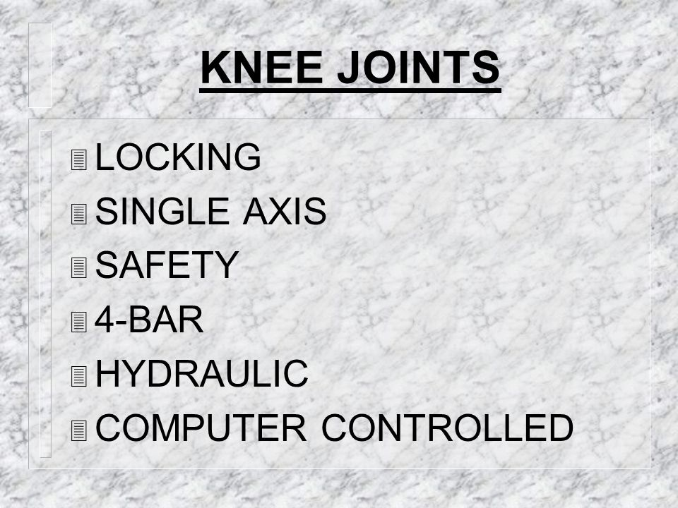 KNEE JOINTS LOCKING SINGLE AXIS SAFETY 4-BAR HYDRAULIC