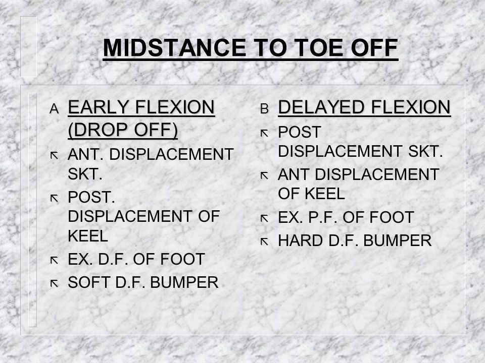 MIDSTANCE TO TOE OFF EARLY FLEXION (DROP OFF) DELAYED FLEXION