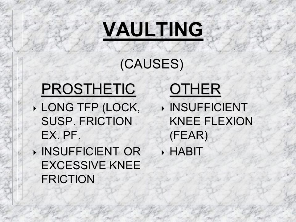 VAULTING PROSTHETIC OTHER (CAUSES)