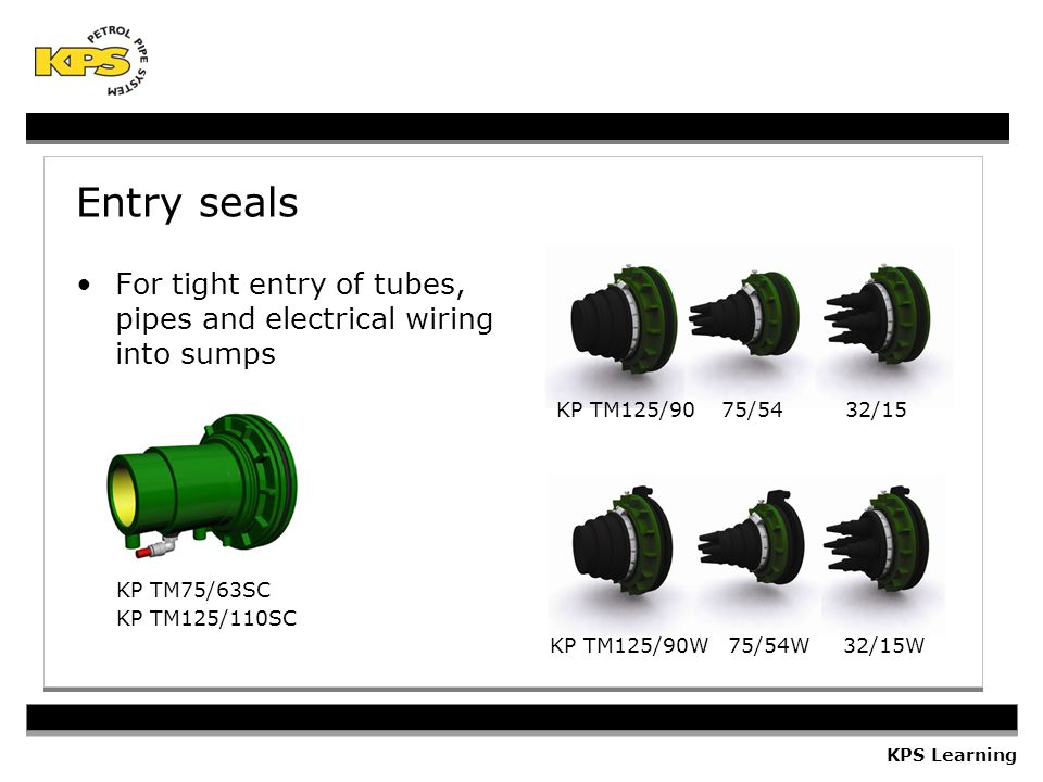Entry seals For tight entry of tubes, pipes and electrical wiring into sumps. KP TM125/90 75/54 32/15.