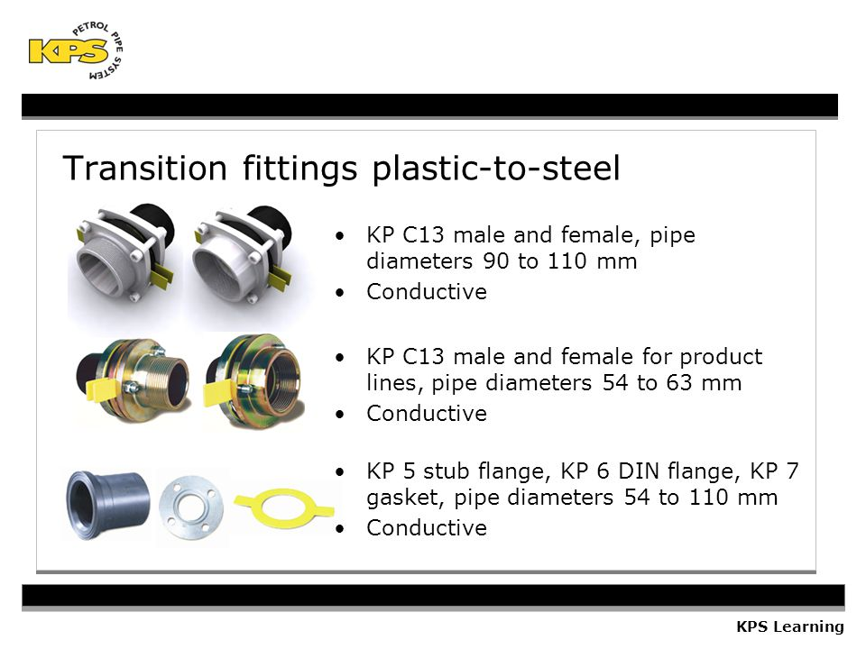 Transition fittings plastic-to-steel