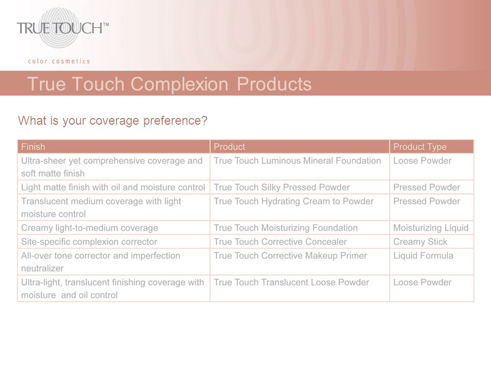 True Touch Complexion Products