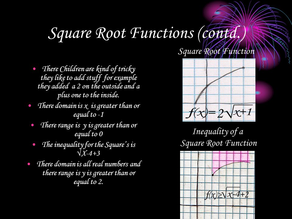 Square Root Functions (contd.)