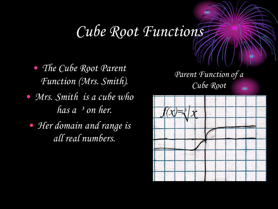 Cube Root Functions The Cube Root Parent Function (Mrs. Smith).