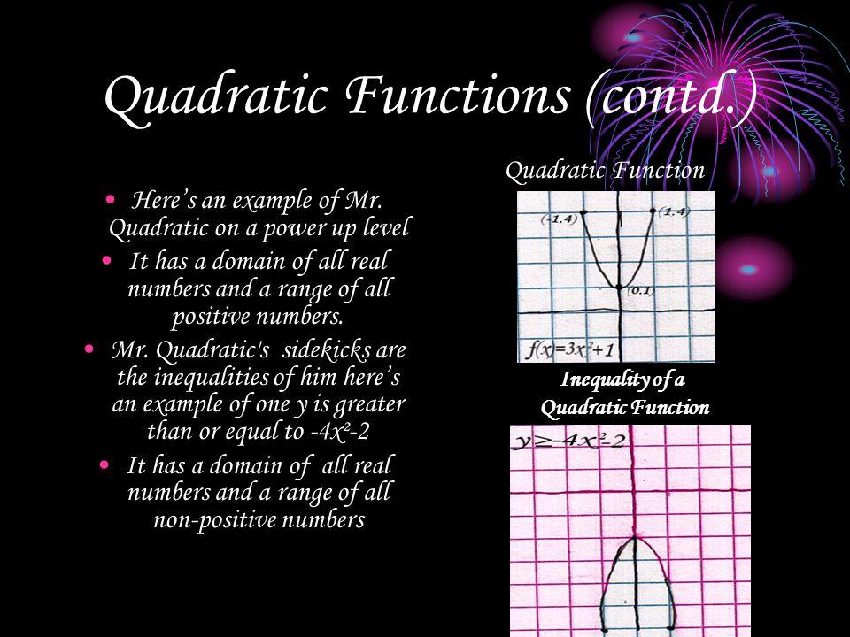 Quadratic Functions (contd.)