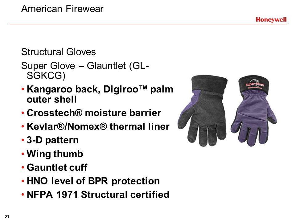 American Firewear Structural Gloves. Super Glove – Glauntlet (GL-SGKCG) Kangaroo back, Digiroo™ palm outer shell.