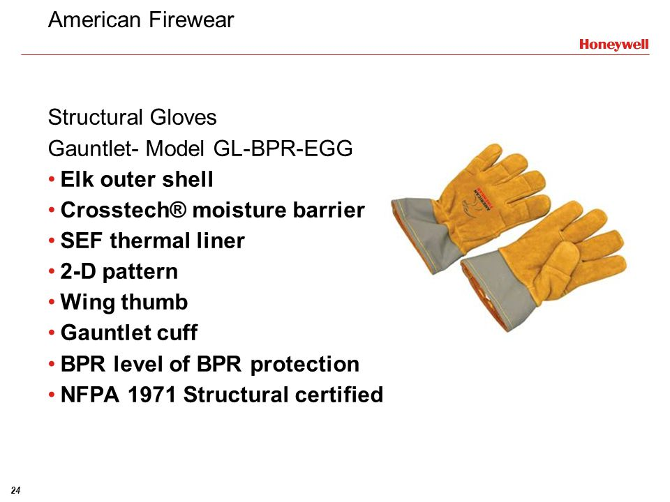 American Firewear Structural Gloves. Gauntlet- Model GL-BPR-EGG. Elk outer shell. Crosstech® moisture barrier.