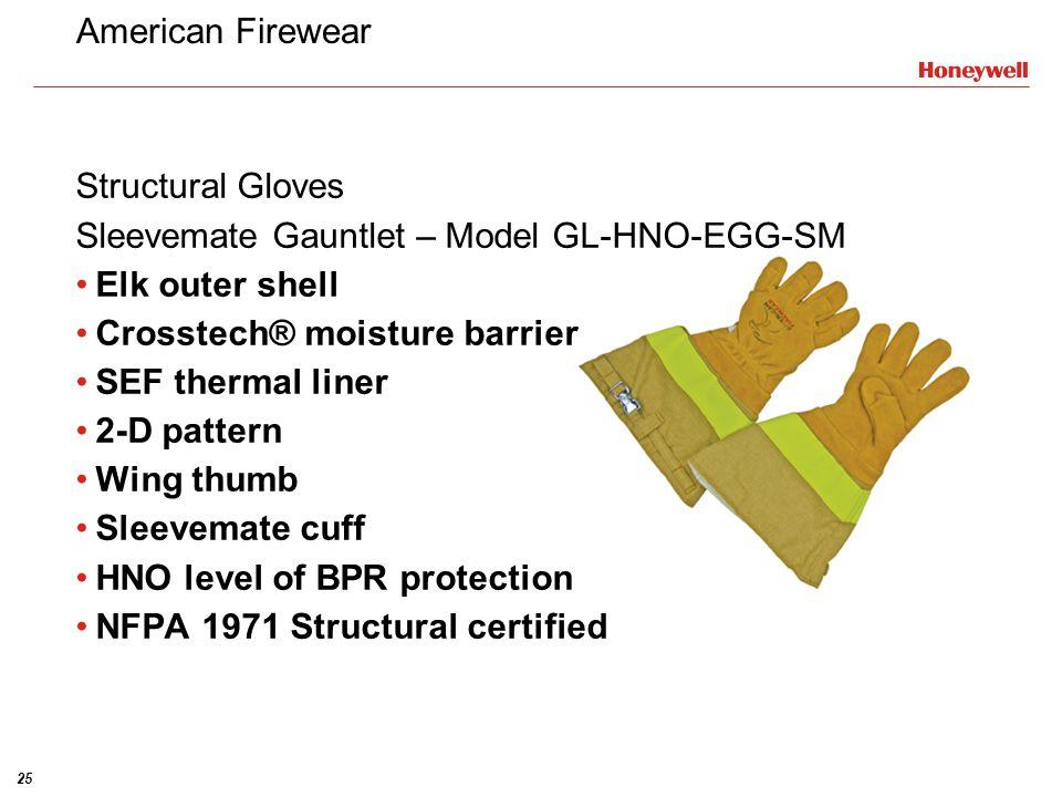 American Firewear Structural Gloves. Sleevemate Gauntlet – Model GL-HNO-EGG-SM. Elk outer shell. Crosstech® moisture barrier.