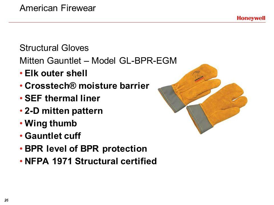 American Firewear Structural Gloves. Mitten Gauntlet – Model GL-BPR-EGM. Elk outer shell. Crosstech® moisture barrier.