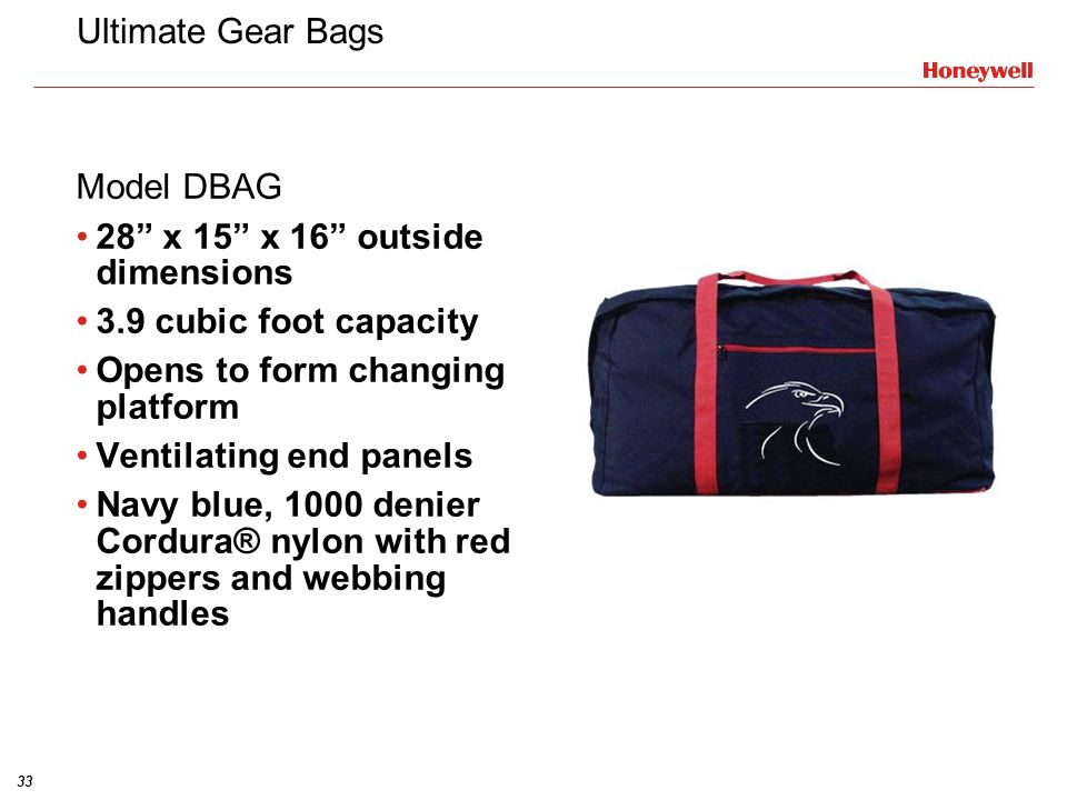 Ultimate Gear Bags Model DBAG. 28 x 15 x 16 outside dimensions. 3.9 cubic foot capacity. Opens to form changing platform.