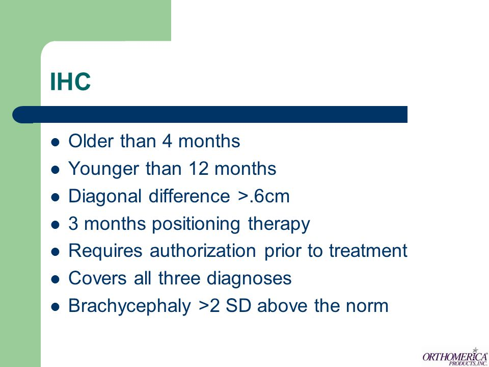 IHC Older than 4 months Younger than 12 months
