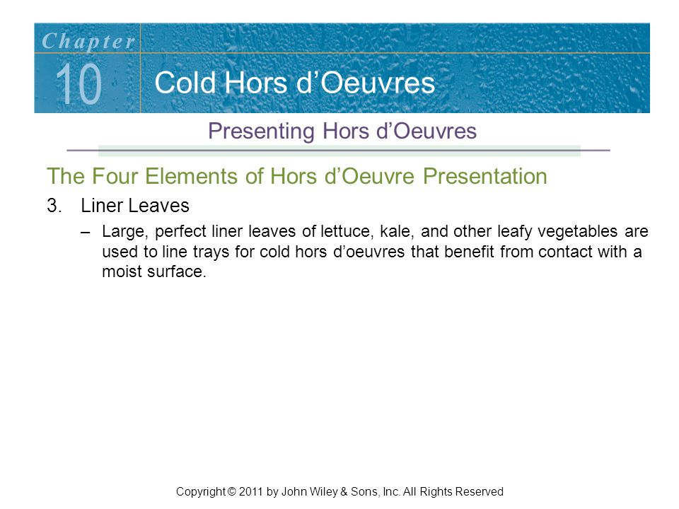 10 Cold Hors d'Oeuvres Chapter Presenting Hors d'Oeuvres