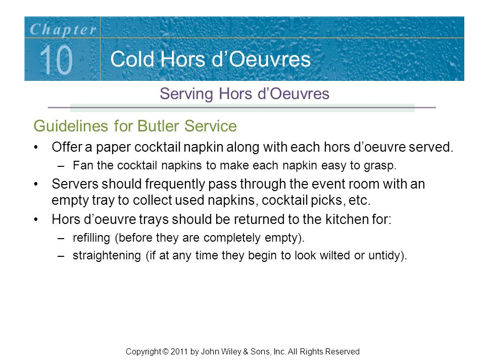 10 Cold Hors d'Oeuvres Chapter Serving Hors d'Oeuvres