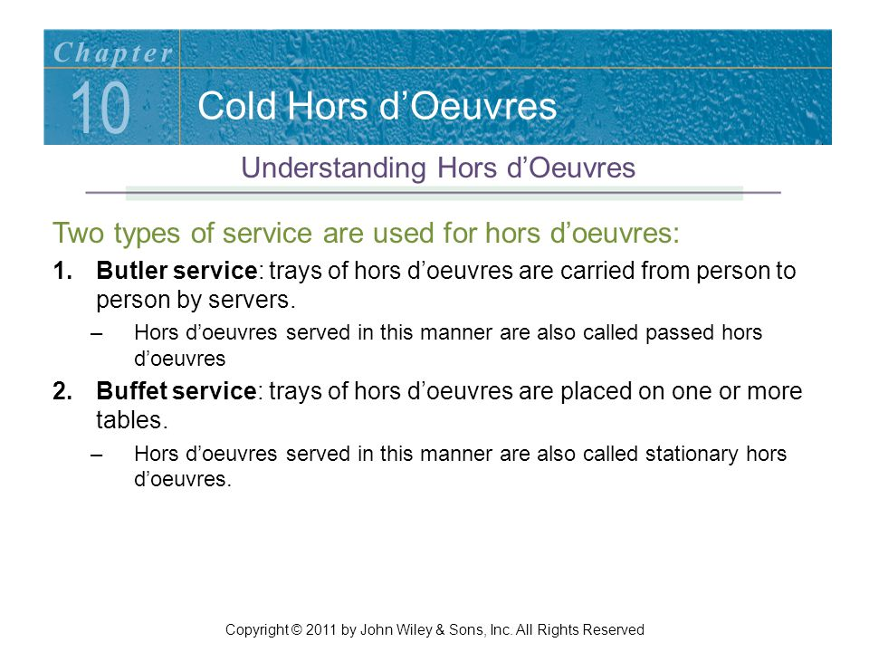 10 Cold Hors d'Oeuvres Chapter Understanding Hors d'Oeuvres