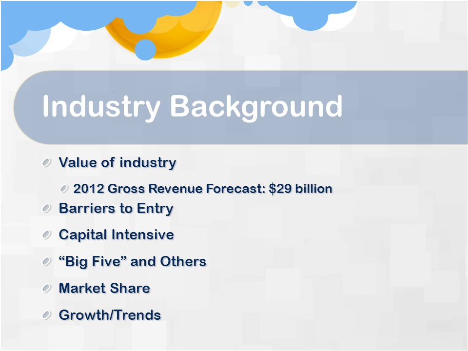 Industry Background Value of industry Barriers to Entry