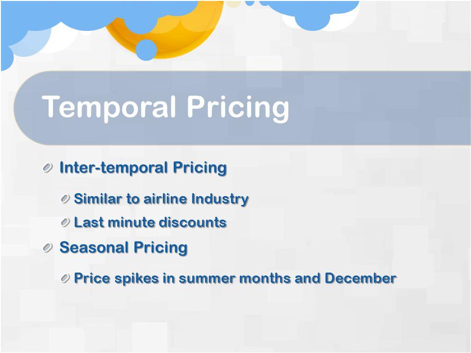 Temporal Pricing Inter-temporal Pricing Seasonal Pricing