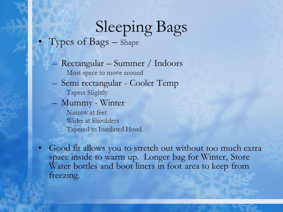 Sleeping Bags Types of Bags – Shape Rectangular – Summer / Indoors