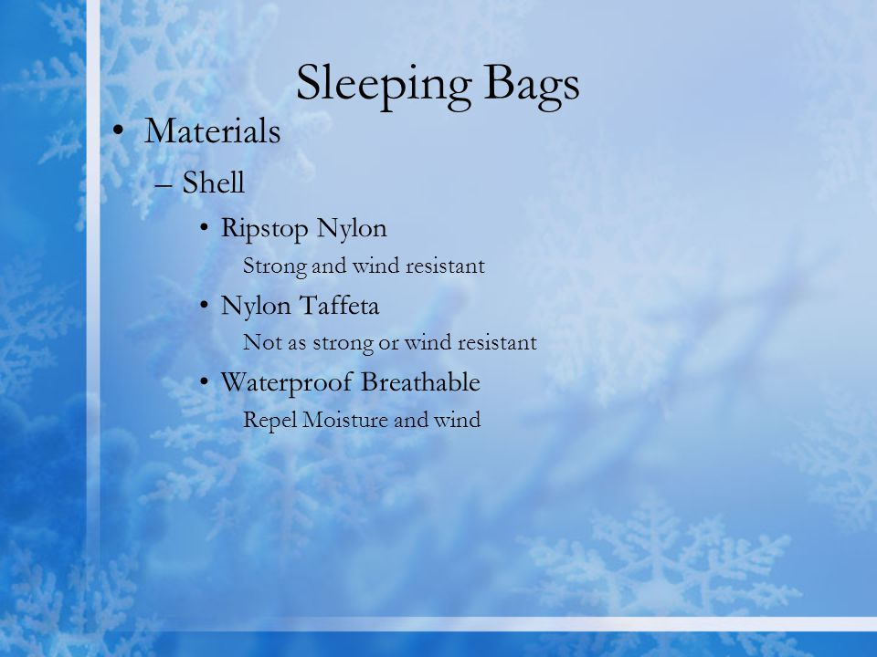 Sleeping Bags Materials Shell Ripstop Nylon Nylon Taffeta