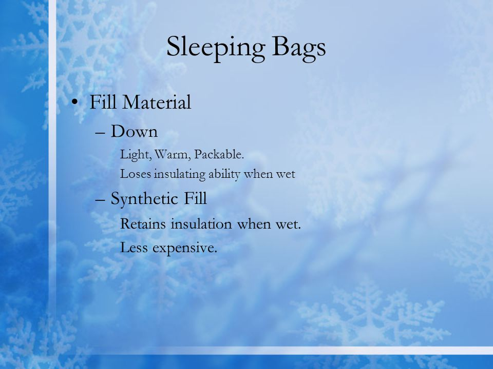 Sleeping Bags Fill Material Down Synthetic Fill
