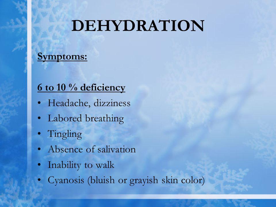 DEHYDRATION Symptoms: 6 to 10 % deficiency Headache, dizziness