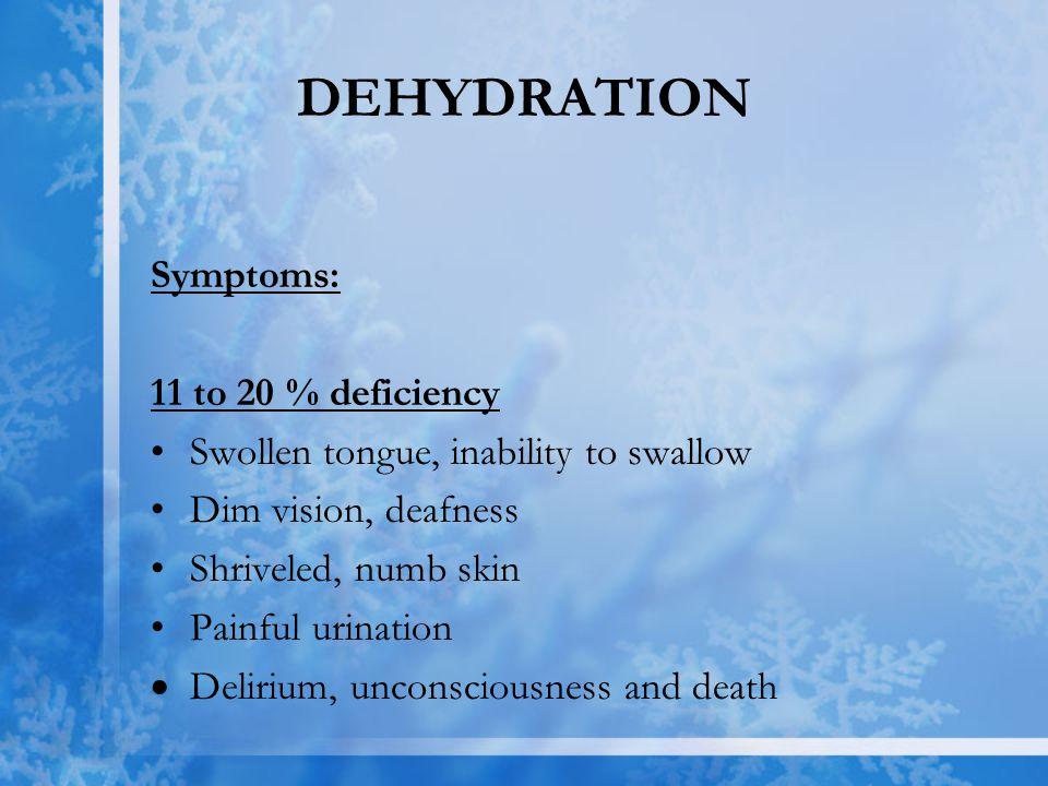 DEHYDRATION Symptoms: 11 to 20 % deficiency