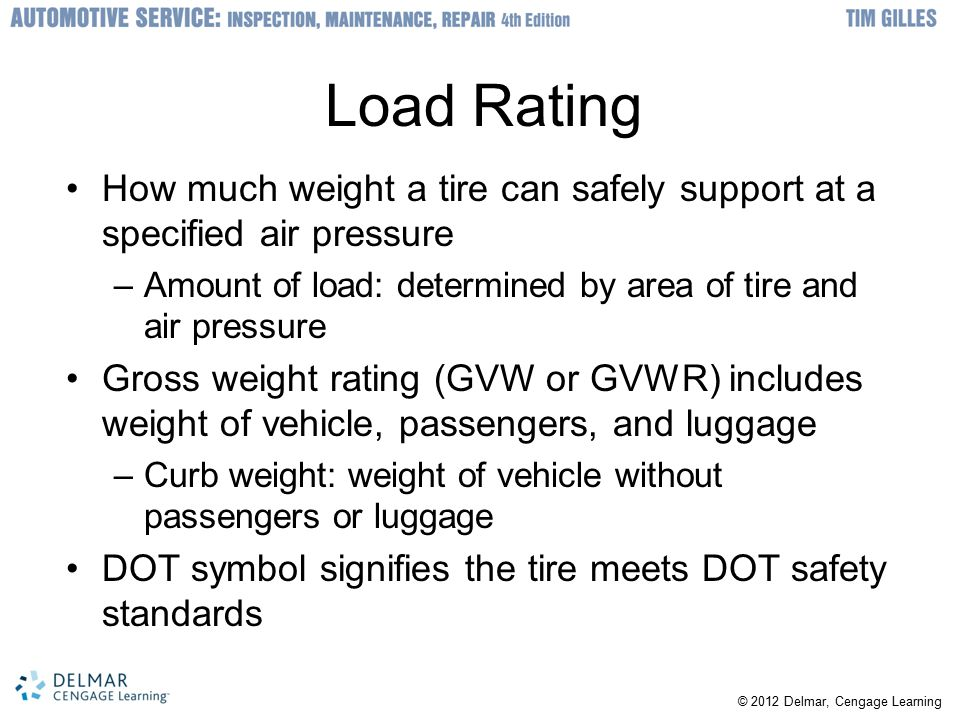 Load Rating How much weight a tire can safely support at a specified air pressure. Amount of load: determined by area of tire and air pressure.