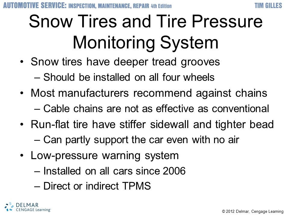 Snow Tires and Tire Pressure Monitoring System