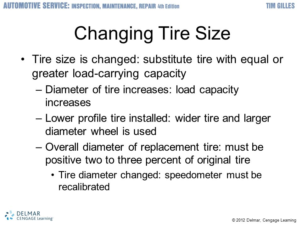 Changing Tire Size Tire size is changed: substitute tire with equal or greater load-carrying capacity.