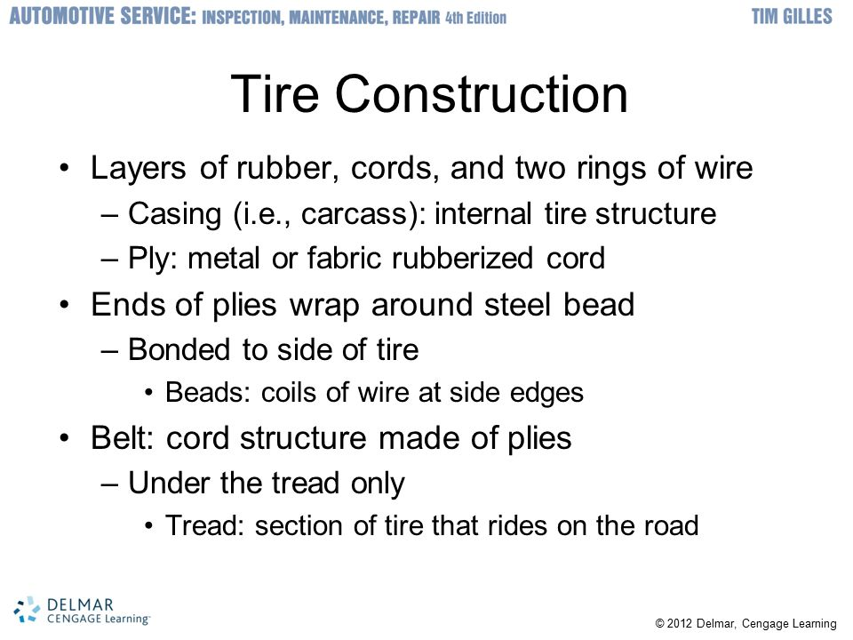 Tire Construction Layers of rubber, cords, and two rings of wire