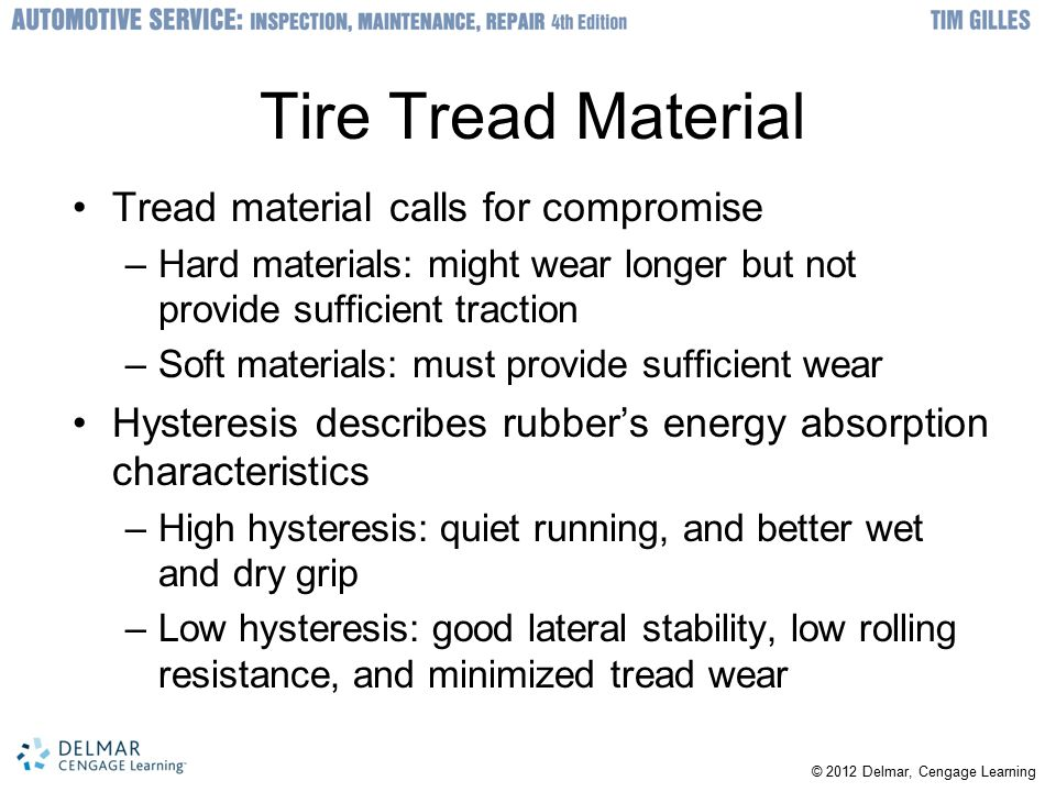 Tire Tread Material Tread material calls for compromise