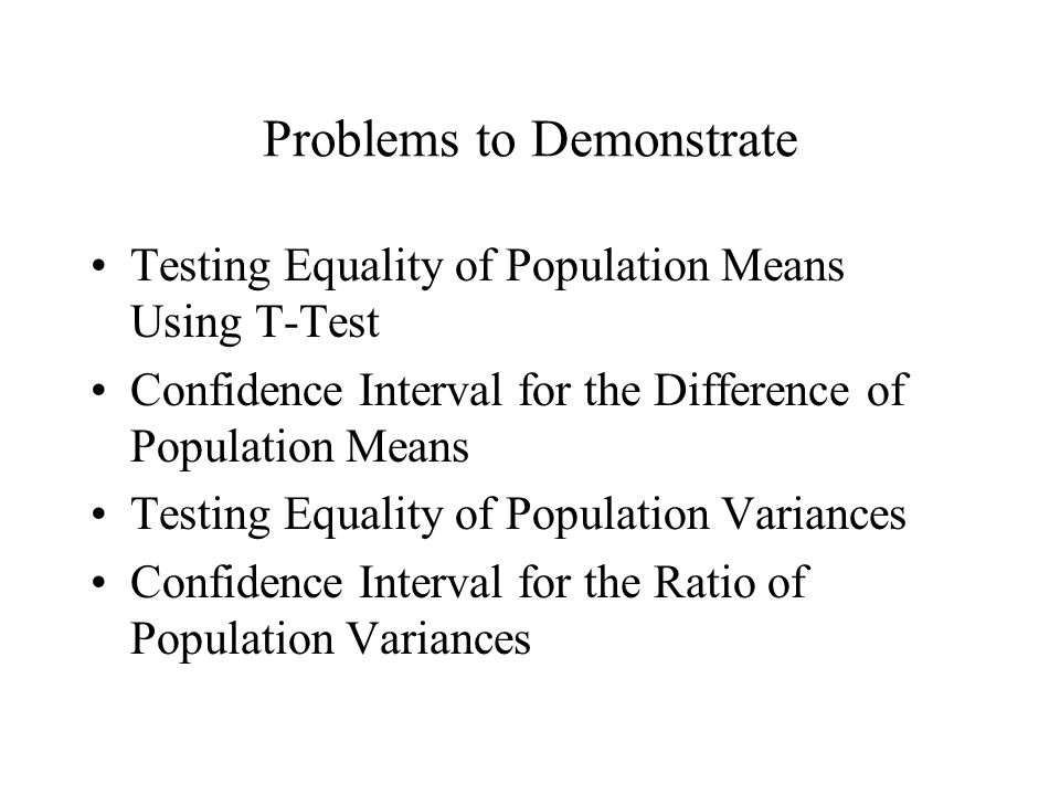 Problems to Demonstrate