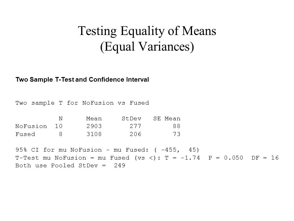 Testing Equality of Means (Equal Variances)