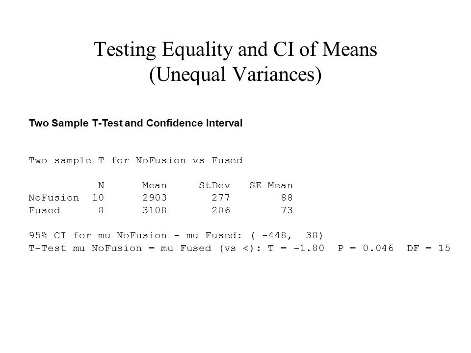 Testing Equality and CI of Means (Unequal Variances)