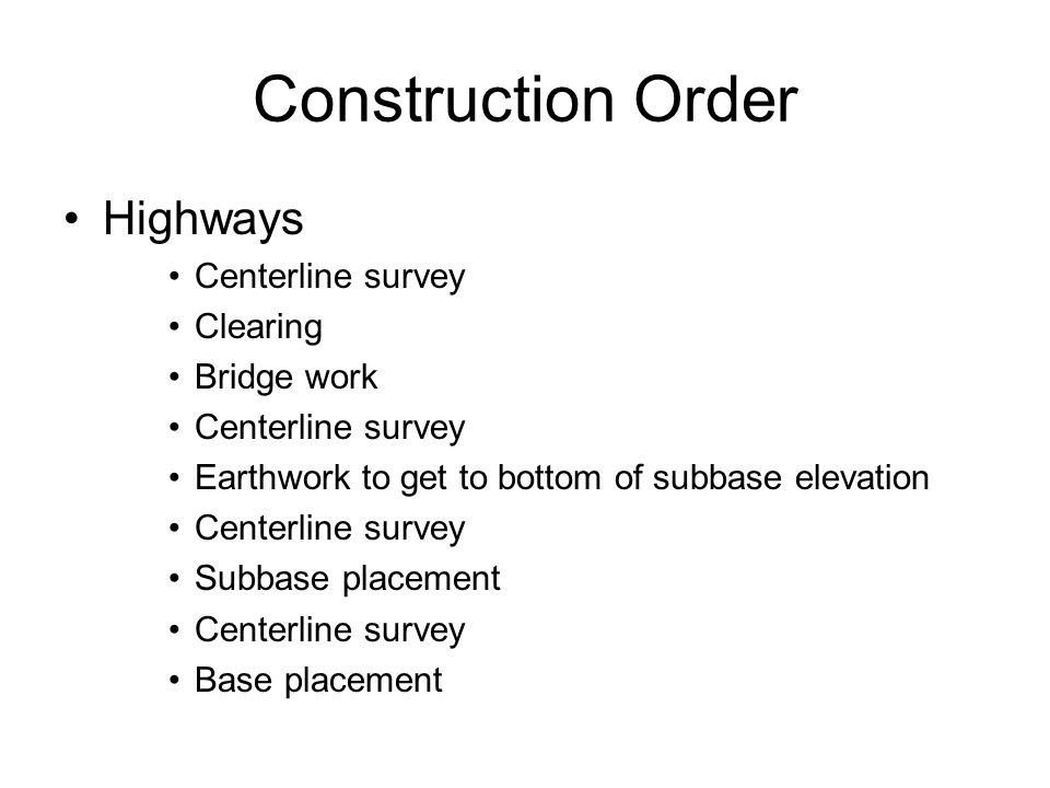 Construction Order Highways Centerline survey Clearing Bridge work