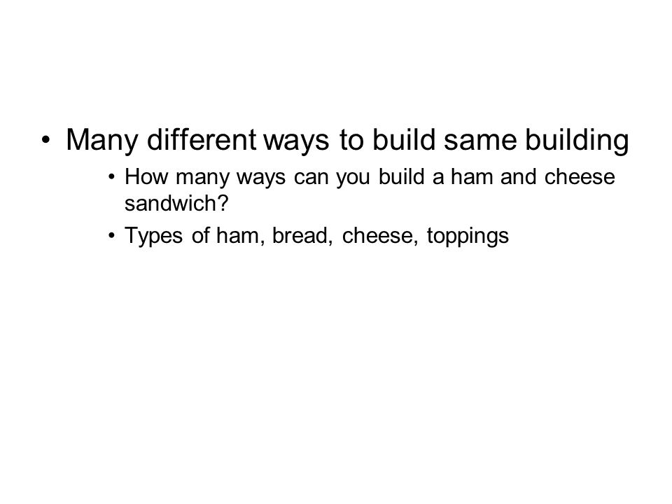Many different ways to build same building