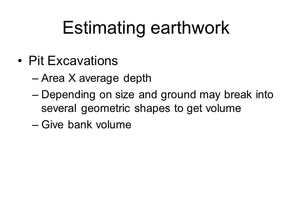 Estimating earthwork Pit Excavations Area X average depth