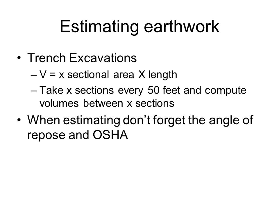 Estimating earthwork Trench Excavations