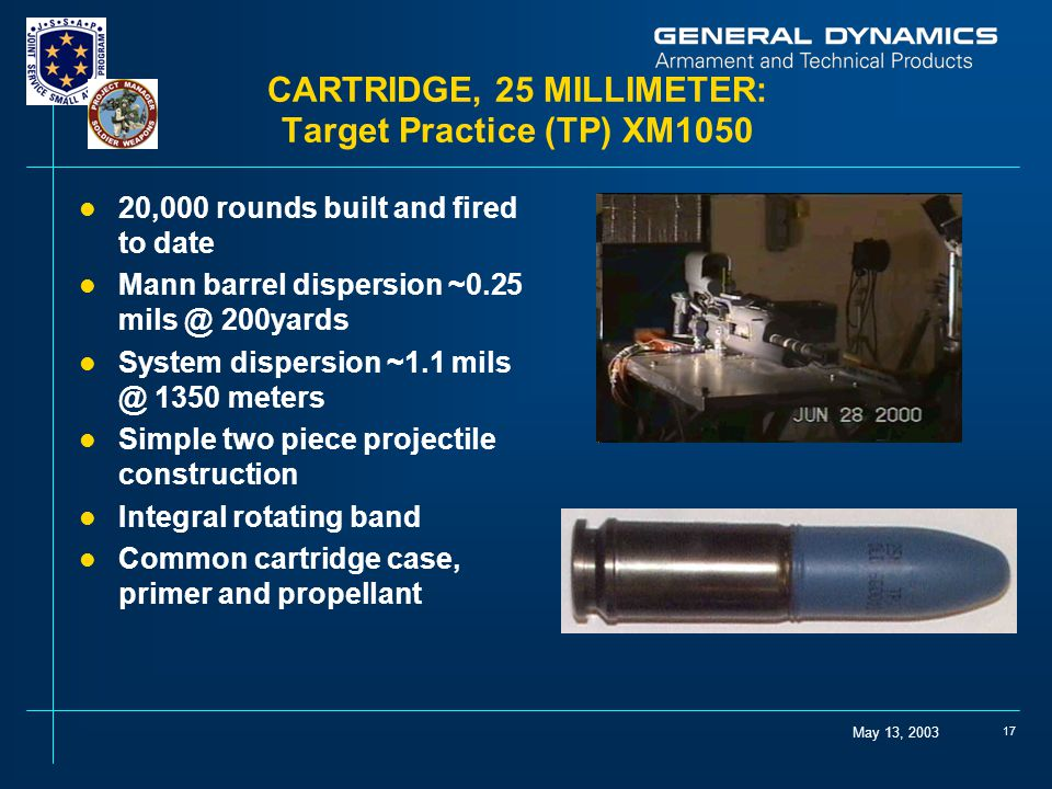 CARTRIDGE, 25 MILLIMETER: Target Practice (TP) XM1050