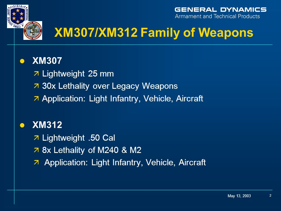 XM307/XM312 Family of Weapons