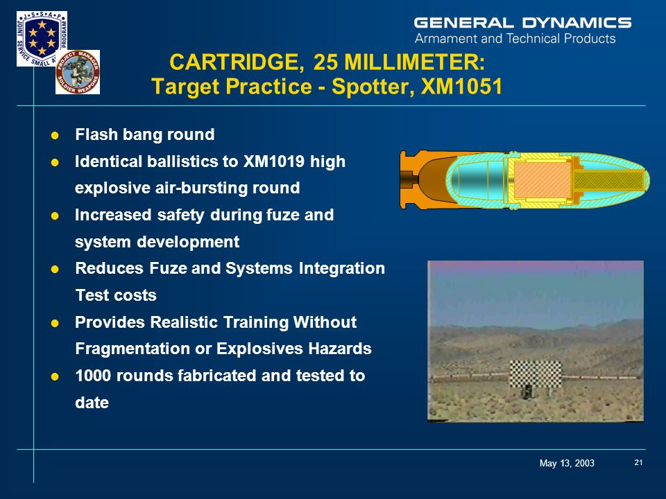 CARTRIDGE, 25 MILLIMETER: Target Practice - Spotter, XM1051