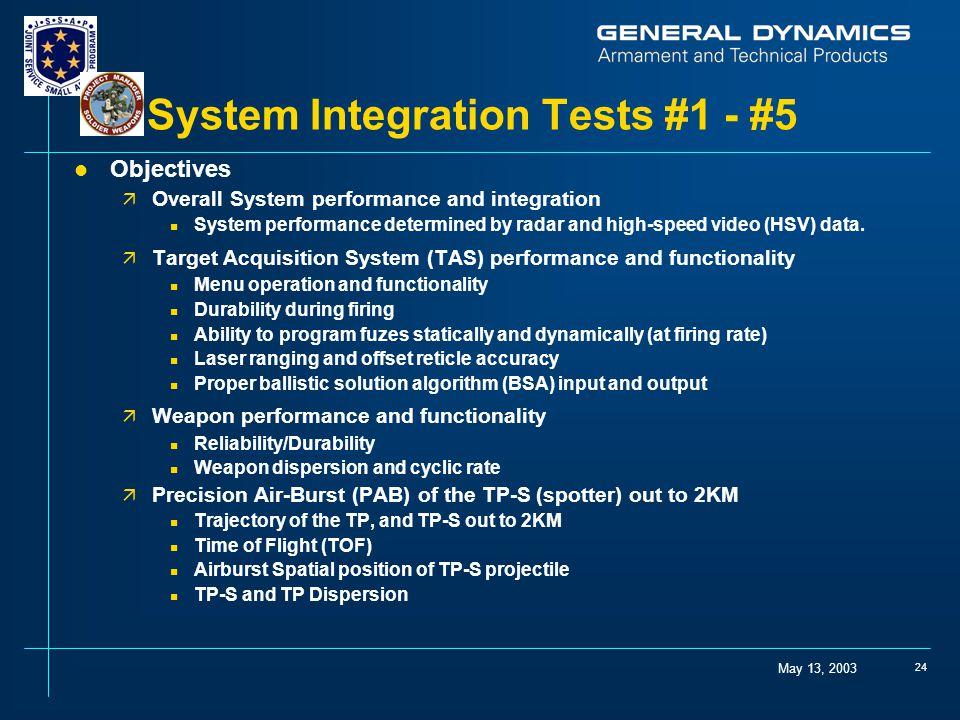 System Integration Tests #1 - #5