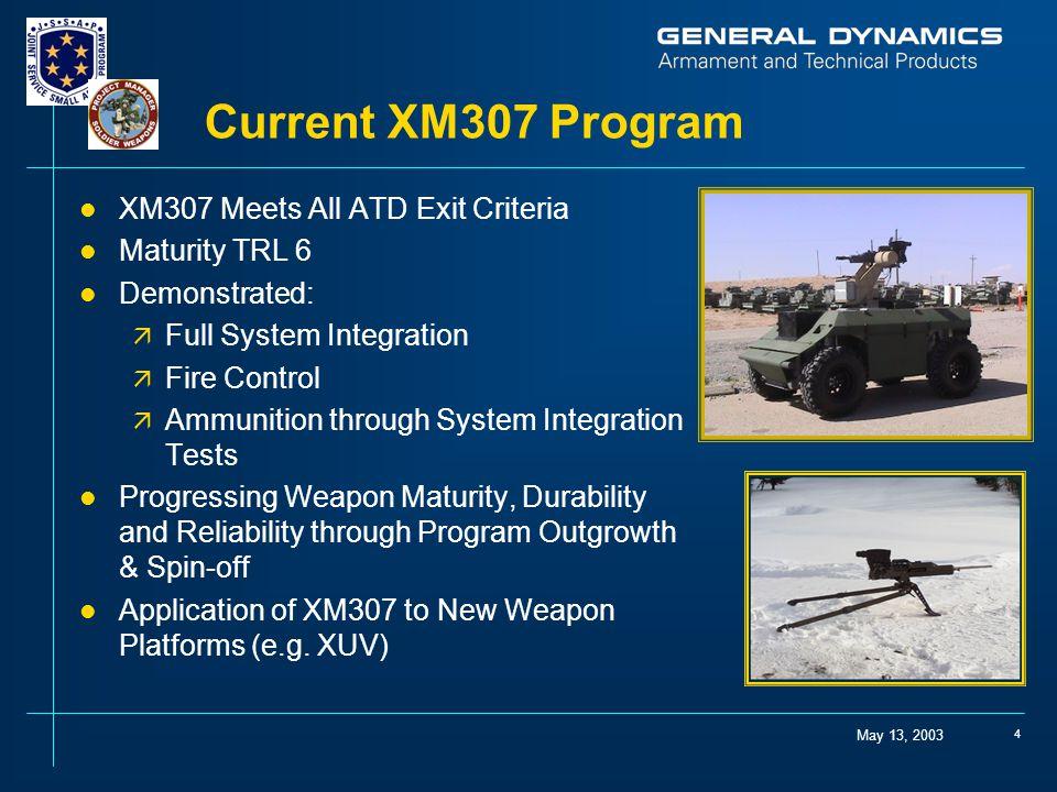 Current XM307 Program XM307 Meets All ATD Exit Criteria Maturity TRL 6