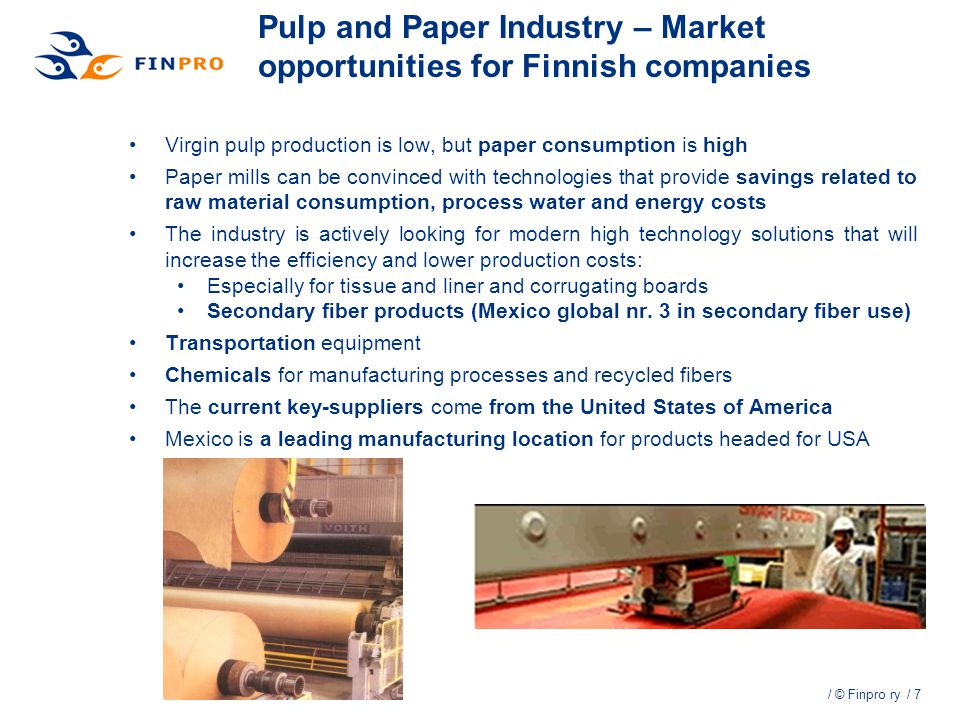 Pulp and Paper Industry – Market opportunities for Finnish companies