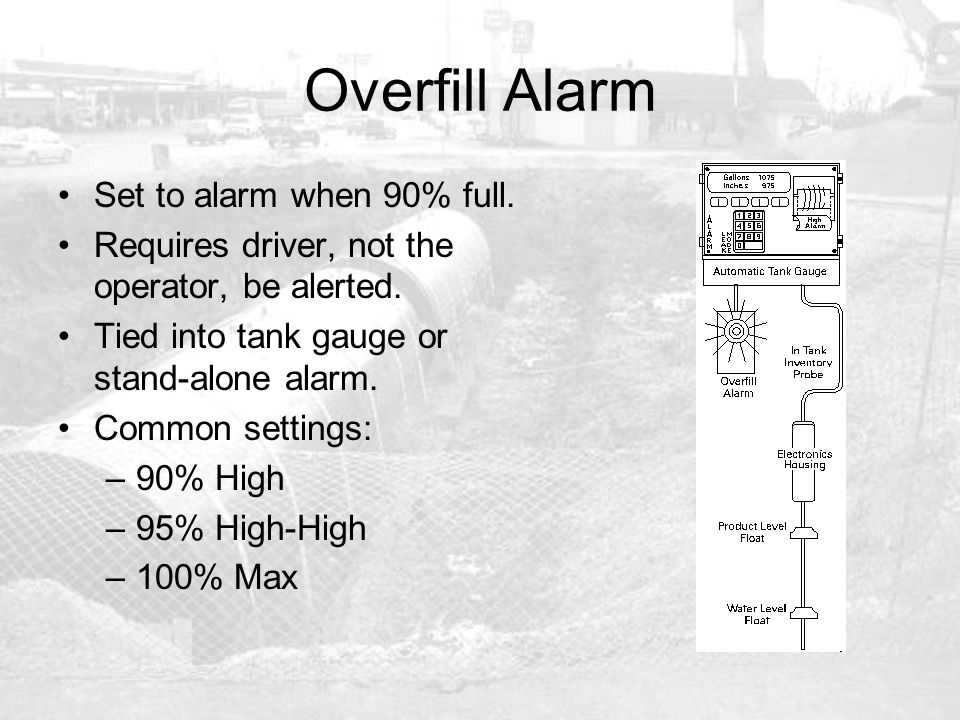 Overfill Alarm Set to alarm when 90% full.
