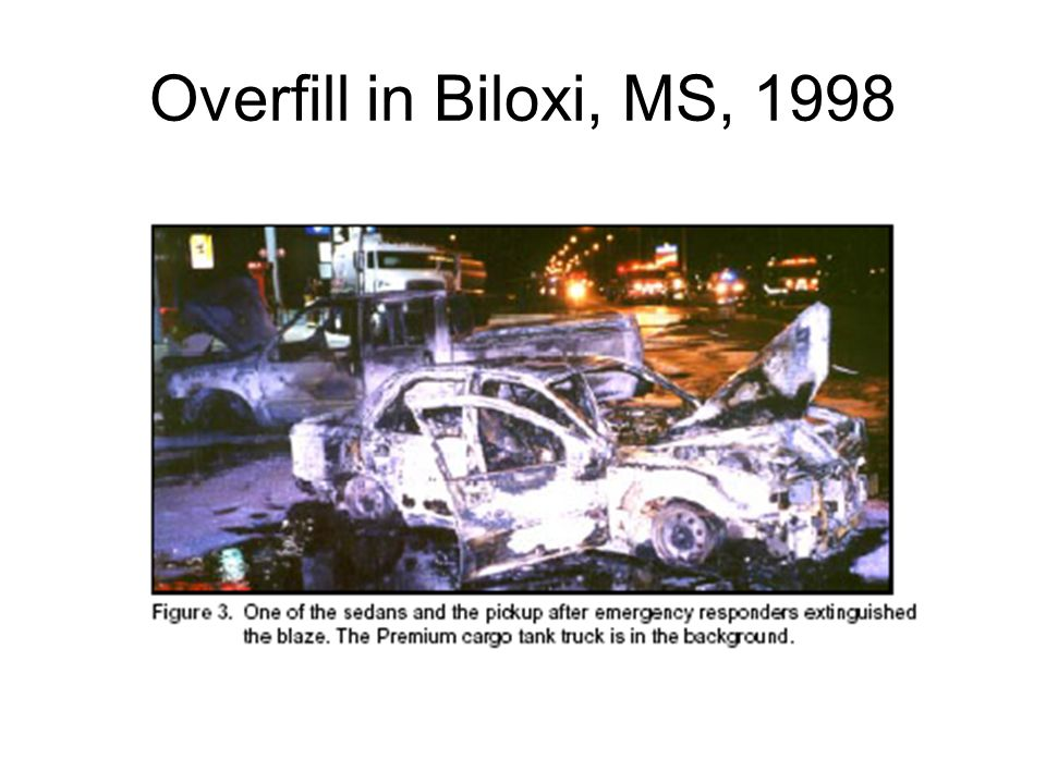 Overfill in Biloxi, MS, 1998 This slide describes the story of the Biloxi overfill and fire: 5 dead, 1 badly burned.